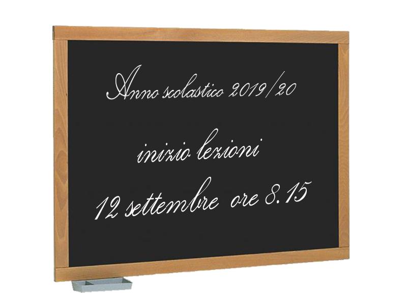 Inizio lezioni anno scolastico 2019-20