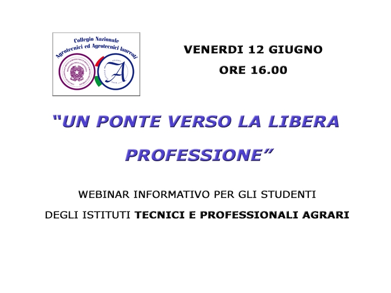 Studenti: WEBINAR informativo sulla professione di Agrotecnico